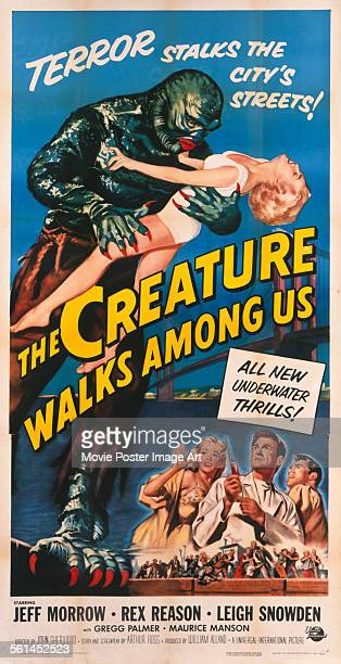 A poster for John Sherwood's 1956 horror film 'The Creature Walks Among Us' starring Jeff Morrow Leigh Snowden and Rex Reason