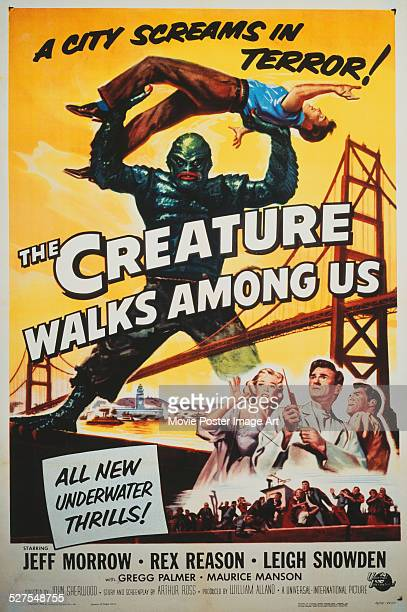 A poster for John Sherwood's 1956 horror 'The Creature Walks Among Us' starring Jeff Morrow Leigh Snowden and Rex Reason