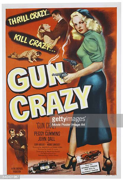 A poster for Joseph H Lewis' 1950 crime film 'Gun Crazy' starring Peggy Cummins