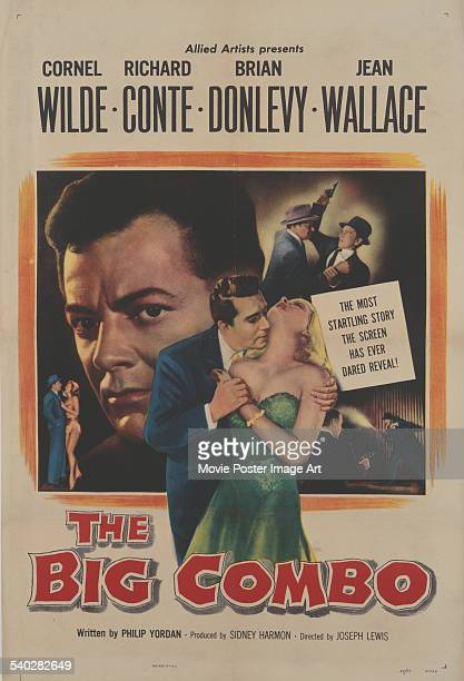 A poster for Joseph H Lewis' 1955 film noir 'The Big Combo' starring Cornel Wilde Richard Conte and Jean Wallace
