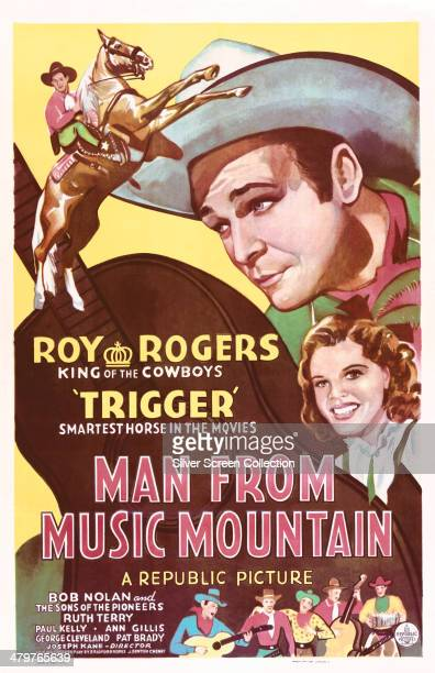 A poster for Joseph Kane's 1943 musical western 'Man From Music Mountain' starring Roy Rogers