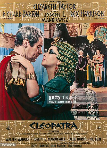 A poster for Joseph L Mankiewicz and Rouben Mamoulian's 1963 biopic 'Cleopatra' starring Elizabeth Taylor and Rex Harrison