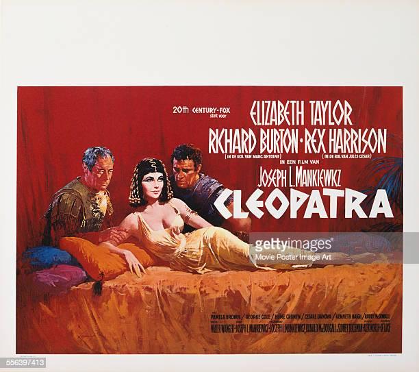 A poster for Joseph L Mankiewicz and Rouben Mamoulian's 1963 biopic 'Cleopatra' starring Elizabeth Taylor Richard Burton and Rex Harrison