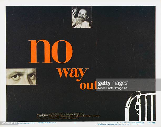 A poster for Joseph L Mankiewicz's 1950 crime film 'No Way Out' starring Richard Widmark and Linda Darnell