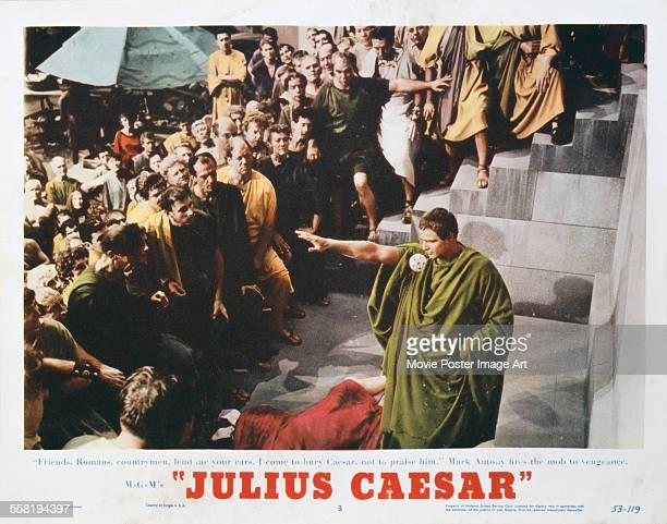 A poster for Joseph L Mankiewicz's 1953 drama 'Julius Caesar' starring Marlon Brando