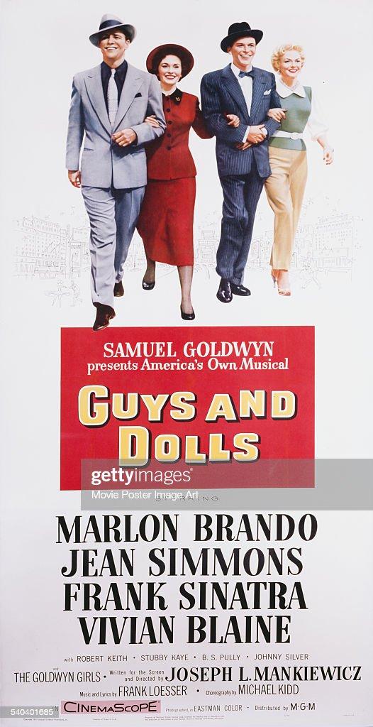 A poster for Joseph L. Mankiewicz's 1955 comedy 'Guys and Dolls' starring Marlon Brando, Jean Simmons, Frank Sinatra, and Vivian Blaine.