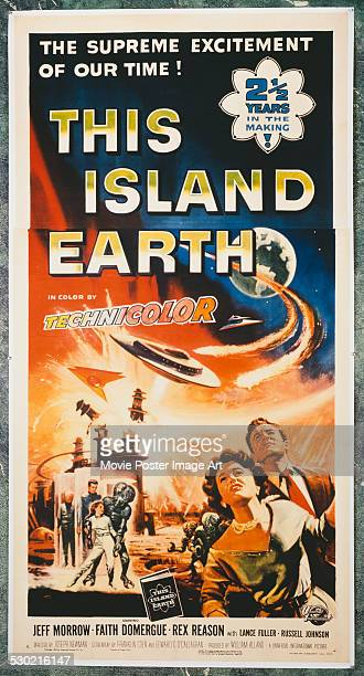 A poster for Joseph M Newman's 1955 horror film 'This Island Earth' starring Jeff Morrow and Faith Domergue