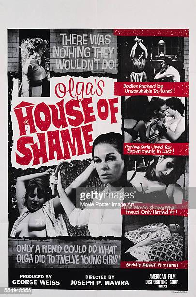 A poster for Joseph P Mawra's 1964 crime film 'Olga's House of Shame' starring Audrey Campbell