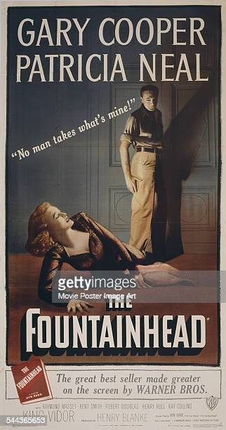 A poster for King Vidor's 1949 drama film 'The Fountainhead' starring Gary Cooper and Patricia Neal