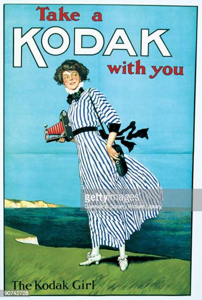 Poster for Kodak cameras by John Hassall This was one of the first advertisements featuring the 'Kodak Girl' in her distinctive striped dress for the...