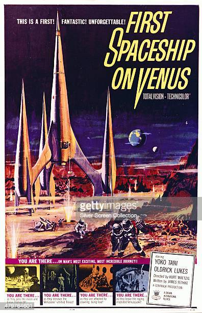 A poster for Kurt Maetzig's 1960 science fiction film 'First Spaceship On Venus' starring Gunther Simon Julius Ongewe and Yoko Tani The film is an...