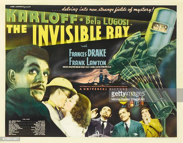 A poster for Lambert Hillyer's 1936 horror film 'The Invisible Ray' starring Boris Karloff and Bela Lugosi and distributed by Universal Pictures