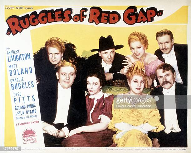 A poster for Leo McCarey's 1935 comedy 'Ruggles Of Red Gap' featuring members of the cast Back row left to right Maude Eburne Roland Young Leila...
