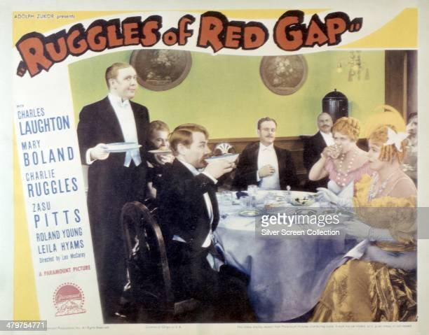 A poster for Leo McCarey's 1935 comedy 'Ruggles Of Red Gap' featuring members of the cast Charles Laughton Maude Eburne Charlie Ruggles Lucien...