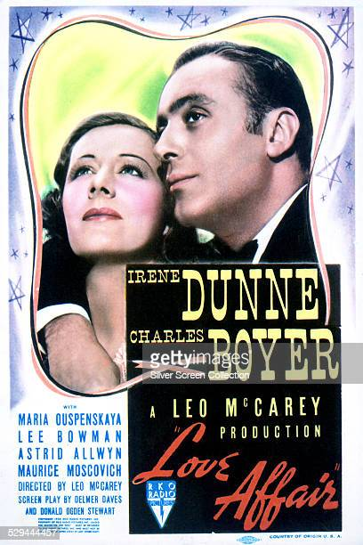 A poster for Leo McCarey's 1939 romantic drama 'Love Affair' starring Irene Dunne and Charles Boyer