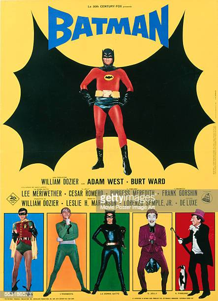 A poster for Leslie H Martinson's 1966 adventure film 'Batman The Movie' starring Adam West Burt Ward Lee Meriwether Frank Gorshin Cesar Romero and...