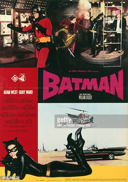 A poster for Leslie H Martinson's 1966 adventure film 'Batman The Movie' starring Adam West Lee Meriwether Cesar Romero and Burgess Meredith
