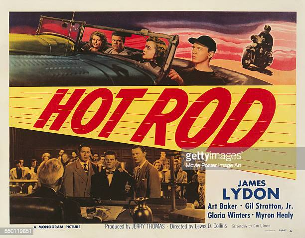A poster for Lewis D Collins' 1950 action film 'Hot Rod' starring Jimmy Lydon Art Baker and Gil Stratton