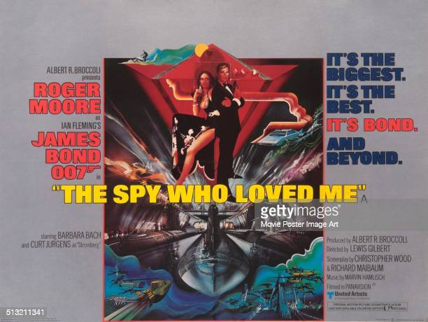 A poster for Lewis Gilbert's 1977 action film 'The Spy Who Loved Me' starring Roger Moore and Barbara Bach