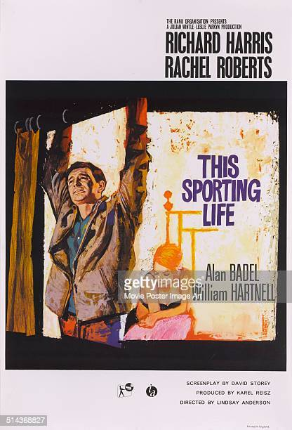 A poster for Lindsay Anderson's 1963 drama 'This Sporting Life' starring Richard Harris and Rachel Roberts
