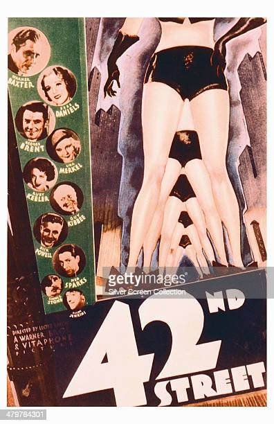 A poster for Lloyd Bacon's 1933 musical film '42nd Street' starring Warner Baxter Bebe Daniels George Brent Una Merkel Ruby Keeler Guy Kibbee Dick...