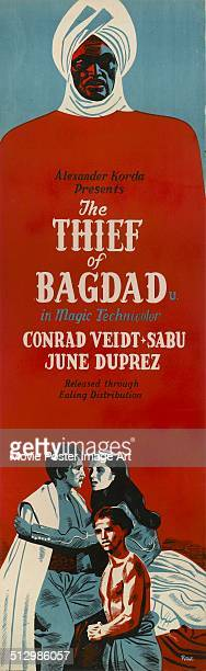 A poster for Ludwig Berger's and Michael Powell's '1940 adventure film 'The Thief of Bagdad' starring Conrad Veidt Sabu and June Duprez