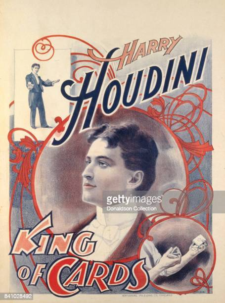A poster for magician Harry Houdini reads 'King of Cards' in 1895