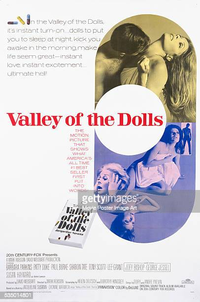 A poster for Mark Robson's 1967 drama 'Valley of the Dolls' starring Barbara Parkins Patty Duke Paul Burke and Sharon Tate