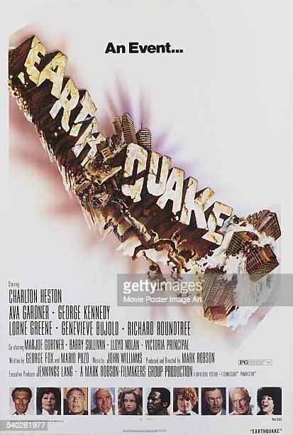 A poster for Mark Robson's 1974 disaster film 'Earthquake' The film stars Charlton Heston Ava Gardner George Kennedy Lorne Greene Genevieve Bujold...