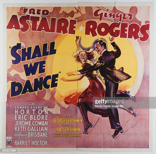 A poster for Mark Sandrich's 1937 musical comedy 'Shall We Dance' starring Fred Astaire and Ginger Rogers