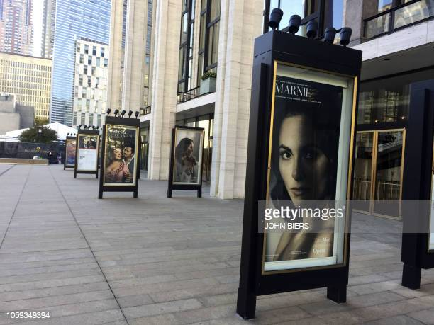 """Poster for """"Marnie"""" is seen outside the Metropolitan Opera on November 4, 2018 in New York. - The Metropolitan Opera's """"Marnie"""" plunks viewers into a..."""