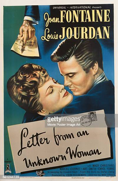A poster for Max Ophüls' 1948 drama 'Letter from an Unknown Woman' starring Joan Fontaine and Louis Jourdan