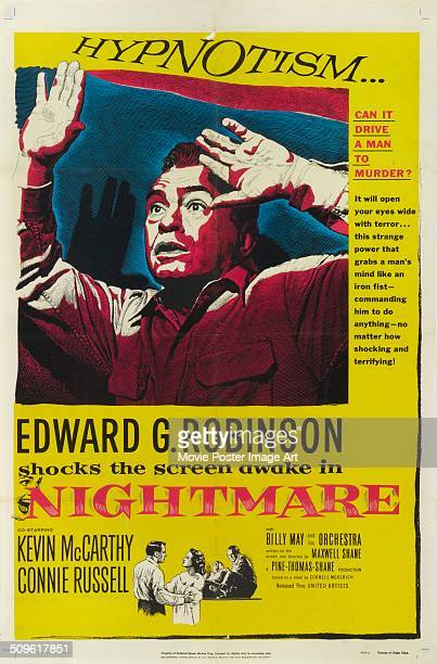 A poster for Maxwell Shane's 1956 drama 'Nightmare' starring Edward G Robinson