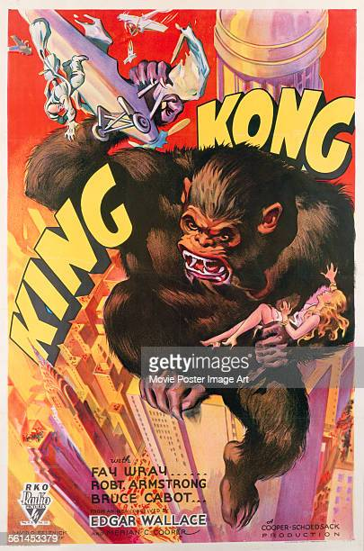A poster for Merian C Cooper's 1933 adventure film 'King Kong'