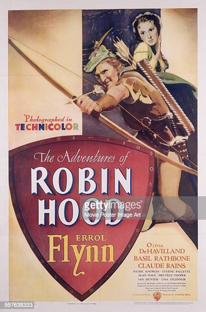 Poster for Michael Curtiz and William Keighley's 1938 action film 'The Adventures of Robin Hood' starring Errol Flynn and Olivia de Havilland.