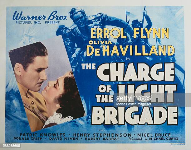 A poster for Michael Curtiz's 1936 action film 'The Charge of the Light Brigade' starring Errol Flynn and Olivia de Havilland