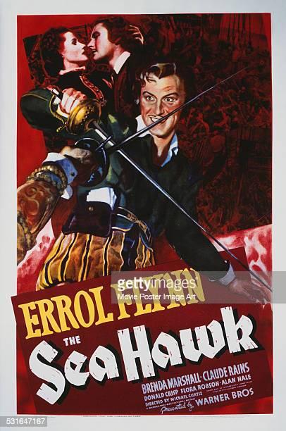 A poster for Michael Curtiz's 1940 action film 'The Sea Hawk' starring Errol Flynn