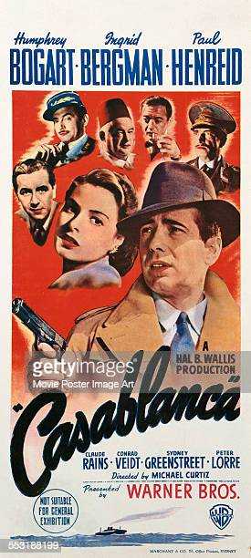 A poster for Michael Curtiz's 1942 drama 'Casablanca' starring Humphrey Bogart Ingrid Bergman Claude Rains Conrad Veidt Sydney Greenstreet and Paul...