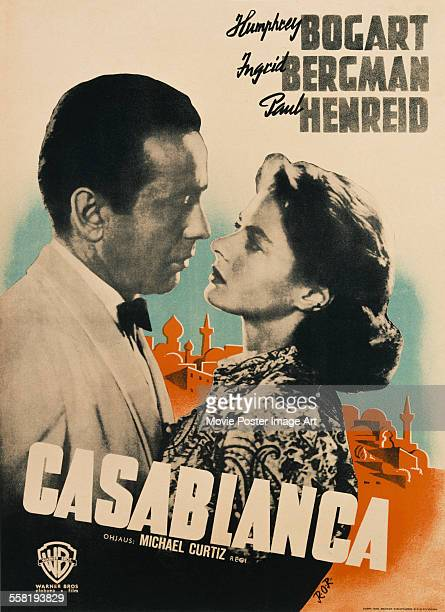 A poster for Michael Curtiz's 1942 drama 'Casablanca' starring Humphrey Bogart and Ingrid Bergman