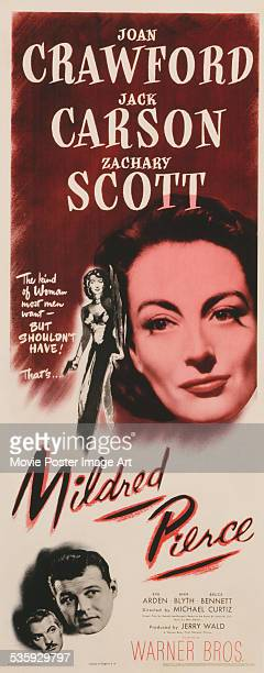 A poster for Michael Curtiz's 1945 crime film 'Mildred Pierce' starring Joan Crawford Jack Carson and Zachary Scott