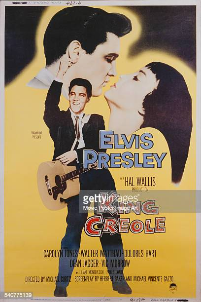 A poster for Michael Curtiz's 1958 crime film 'King Creole' starring Elvis Presley