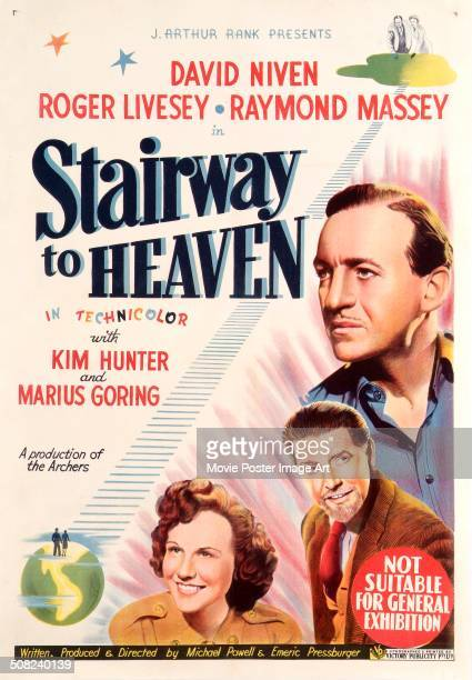 A poster for Michael Powell and Emeric Pressburger's 1946 drama 'Stairway to Heaven' starring David Niven Kim Hunter and Roger Livesey