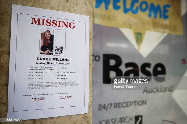 A poster for missing British girl Grace Millane is displayed outside the Base backpackers where Grace had been staying on December 07 2018 in...
