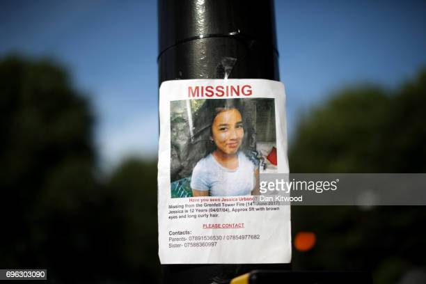 A poster for missing girl Jessica Urbano is seen near Grenfell Tower on June 15 2017 in London England At least 17 people have been confirmed dead...