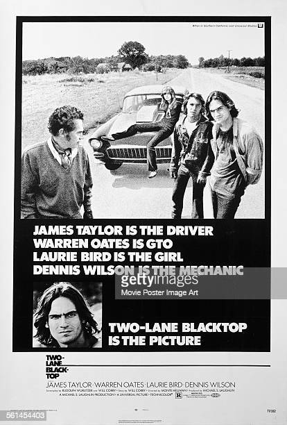 A poster for Monte Hellman's 1971 drama 'TwoLane Blacktop' starring James Taylor Warren Oates Laurie Bird and Dennis Wilson