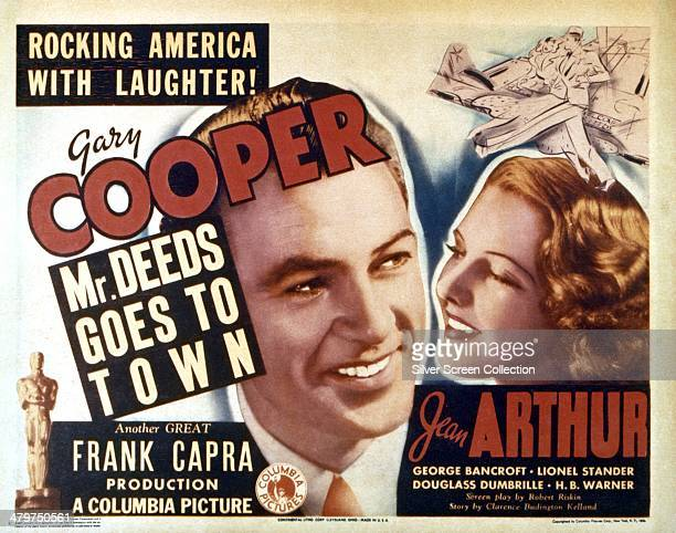 A poster for 'Mr Deeds Goes to Town' directed by Frank Capra and starring Gary Cooper and Jean Arthur 1936