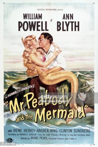 A poster for 'Mr Peabody and the Mermaid' directed by Irving Pichel and starring William Powell and Ann Blyth in the title roles 1948