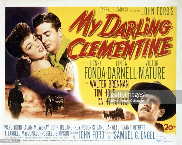 A poster for 'My Darling Clementine' directed by John Ford and featuring American actors Linda Darnell Victor Mature and Henry Fonda 1946