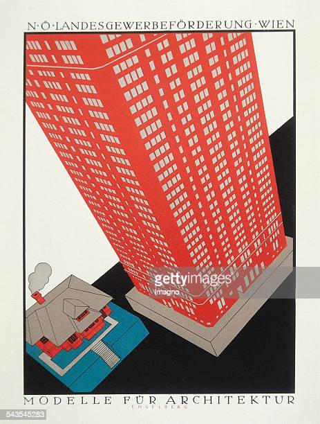 Poster for NÖ Regional Trade Promotion Vienna Models of Architecture by Engelberg About 1923 Colour lithograph In Poster Art in Vienna Illustrated by...