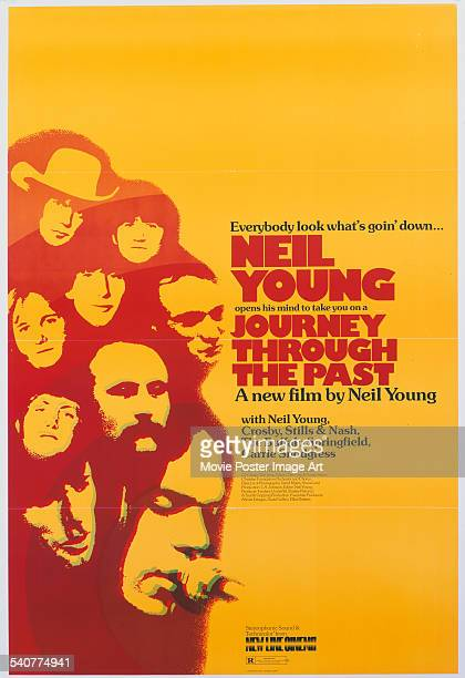 A poster for Neil Young's 1974 music documentary 'Journey Through the Past' starring David Crosby Graham Nash Stephen Stills and Neil Young